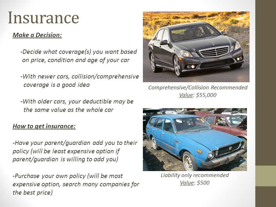 Insurance Make a Decision: -Decide what coverage(s) you want based