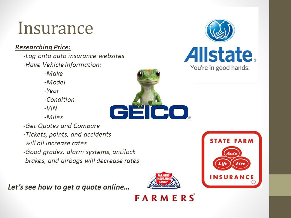 Insurance Let's see how to get a quote online… Researching Price: