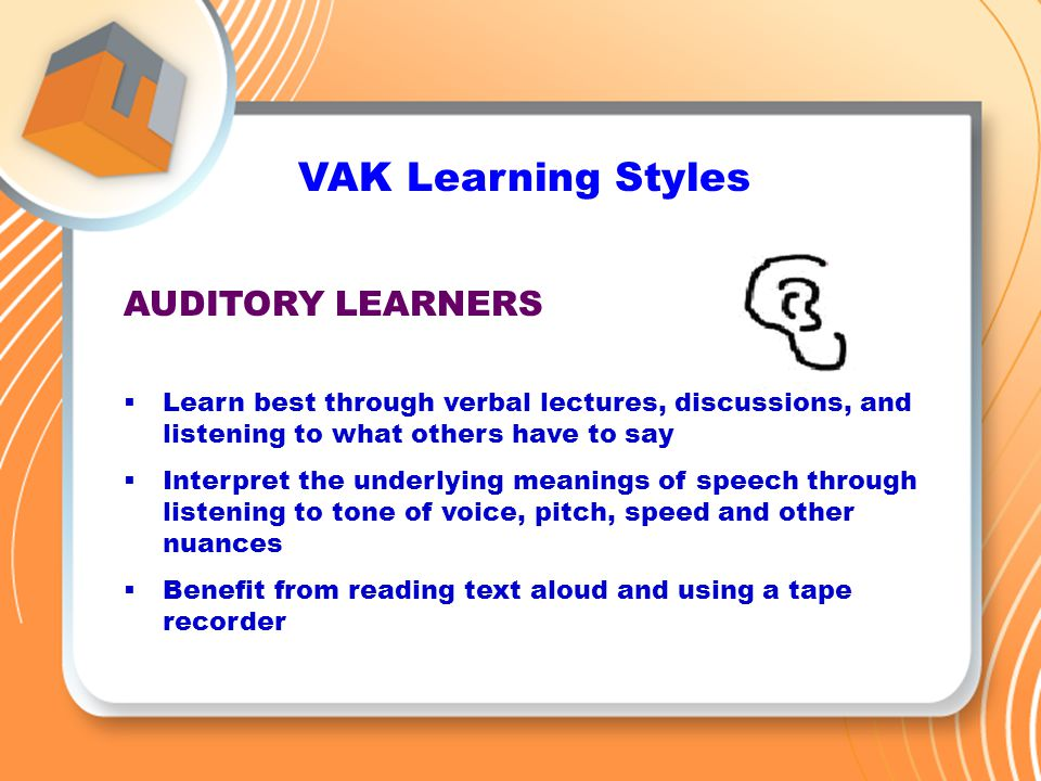vak learning styles explanation