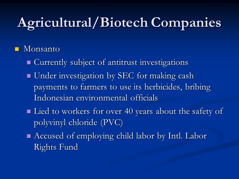 Agricultural/Biotech Companies