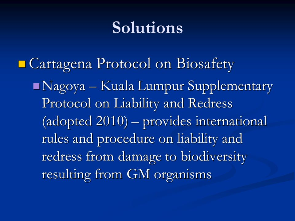 Solutions Cartagena Protocol on Biosafety