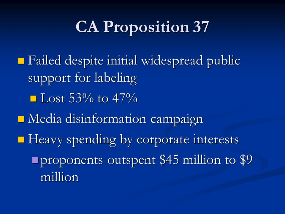 CA Proposition 37 Failed despite initial widespread public support for labeling. Lost 53% to 47% Media disinformation campaign.