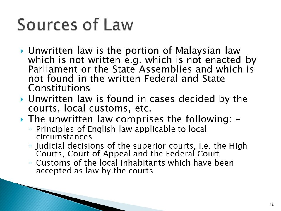 what is unwritten law