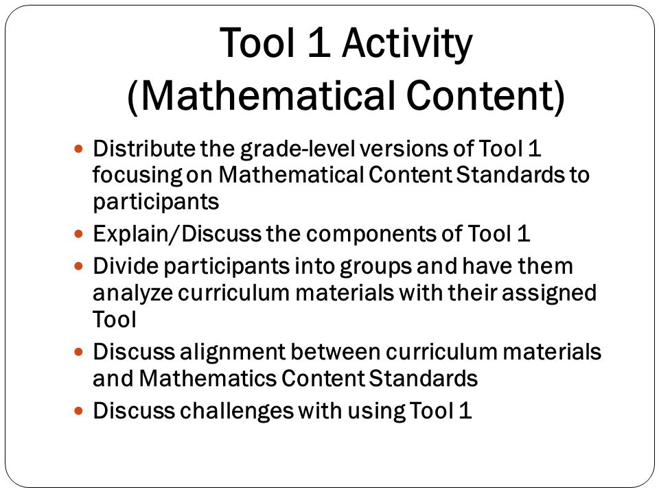 Tool 1 Activity (Mathematical Content)
