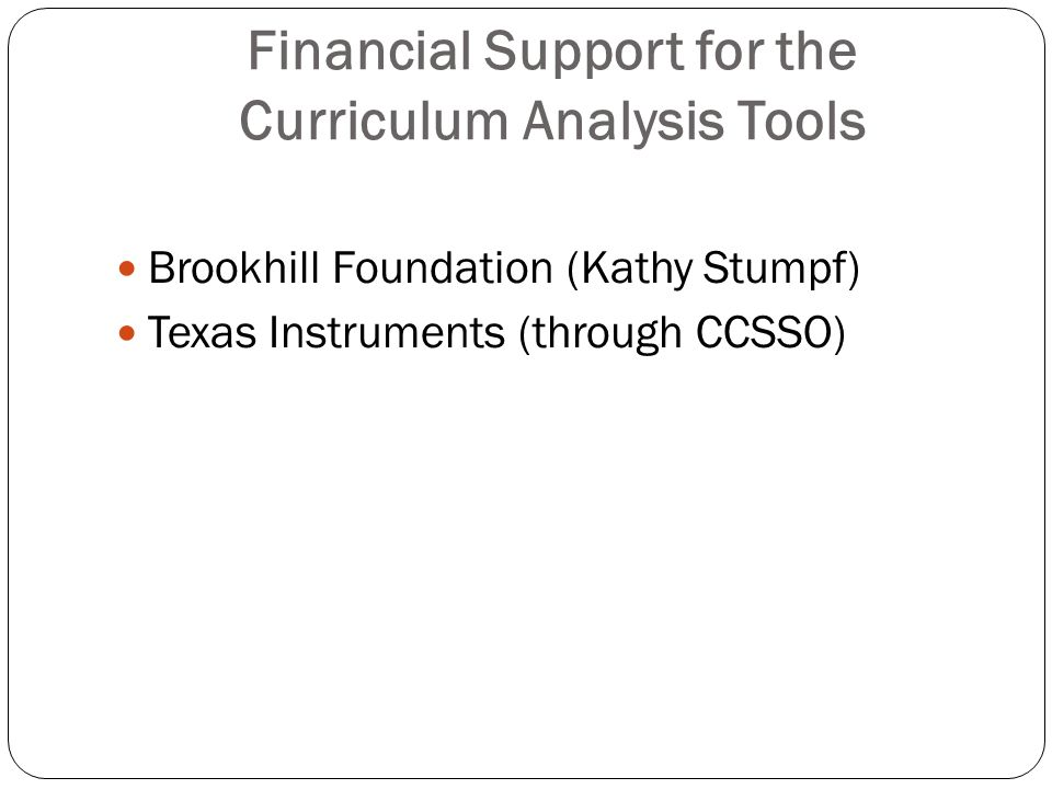 Financial Support for the Curriculum Analysis Tools