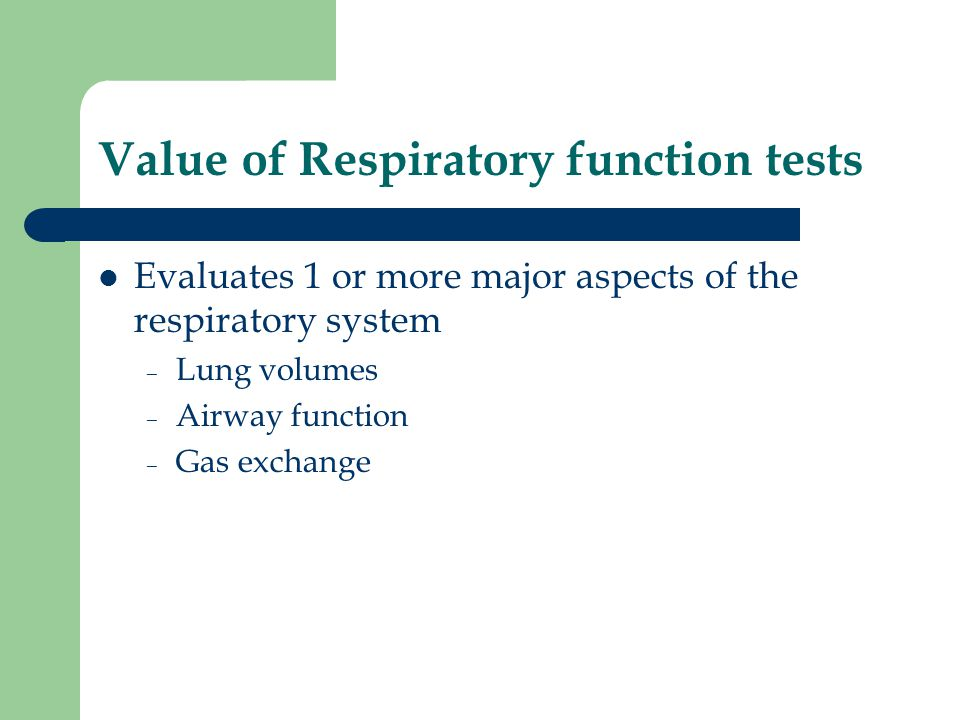Value of Respiratory function tests