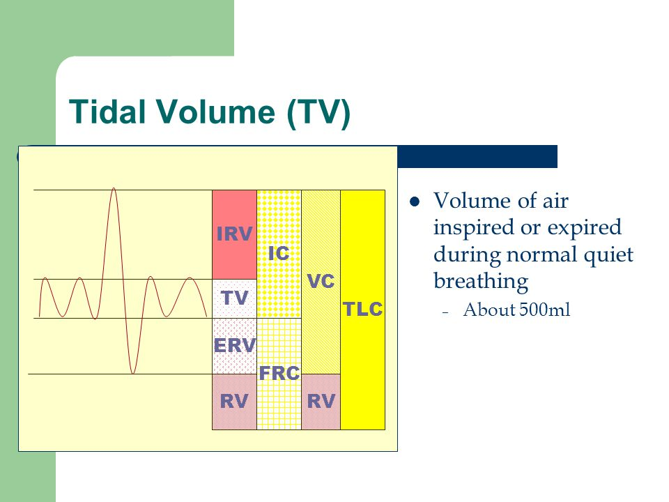 Tidal Volume (TV) Volume of air inspired or expired during normal quiet breathing. About 500ml. IRV.