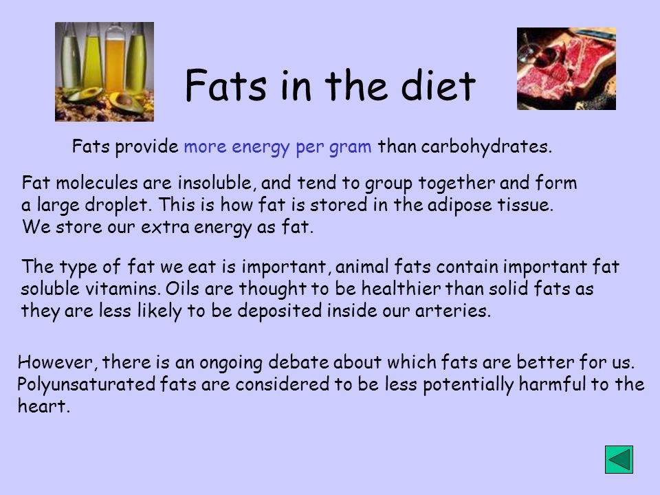 Fats in the diet Fats provide more energy per gram than carbohydrates.