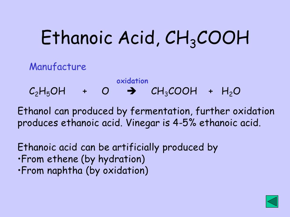 Ethanoic Acid, CH3COOH Manufacture C2H5OH + O  CH3COOH + H2O