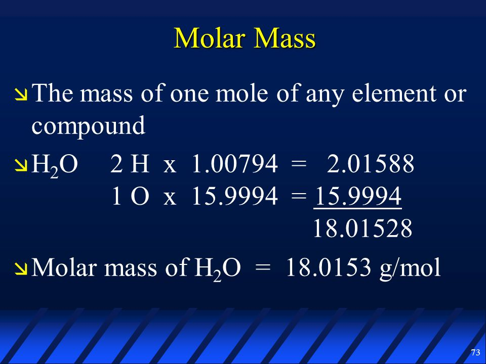 molar mass Molar mass is closely related to the relative molar mass (m r) of a compound, the older term formula weight and to the standard atomic masses of its constituent elements.