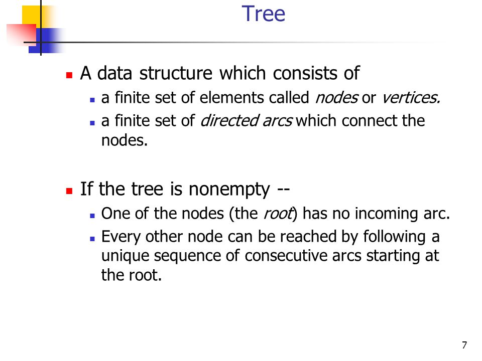 Tree A data structure which consists of If the tree is nonempty --