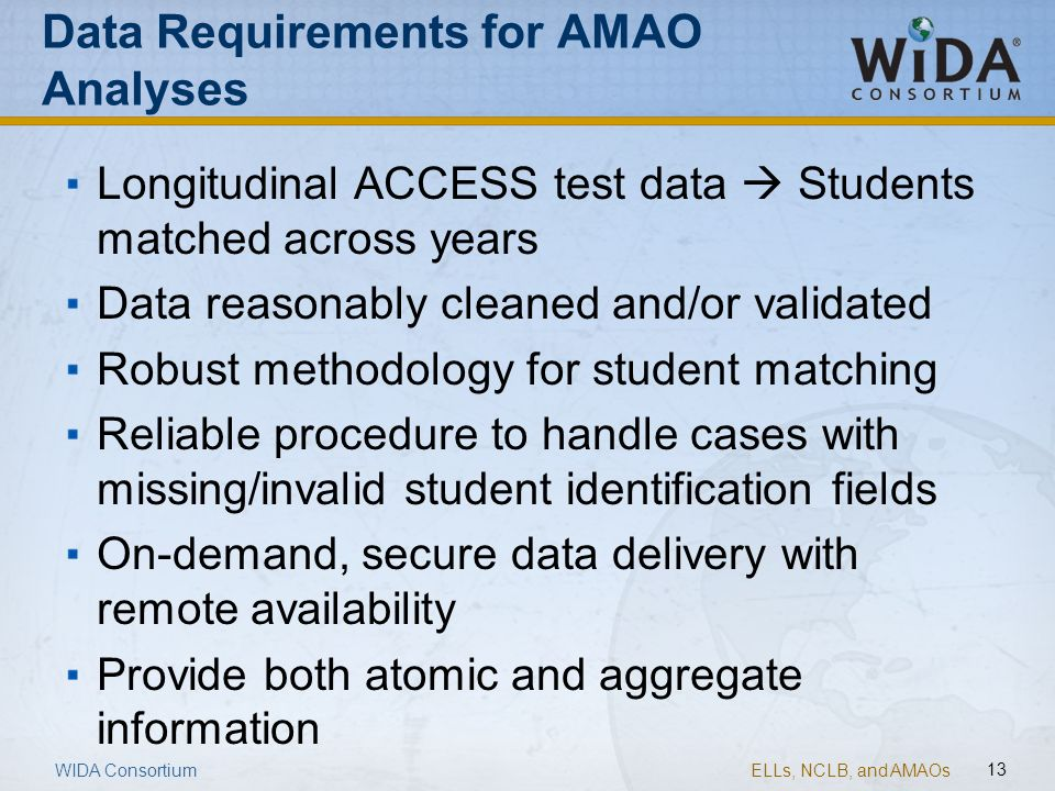 Data Requirements for AMAO Analyses
