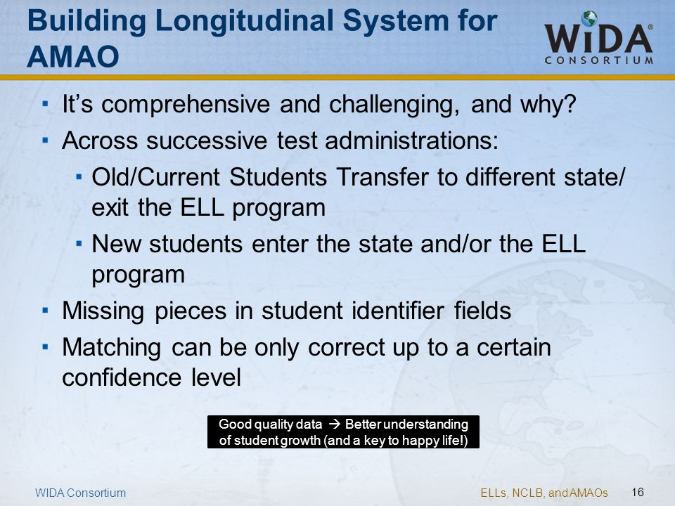 Building Longitudinal System for AMAO