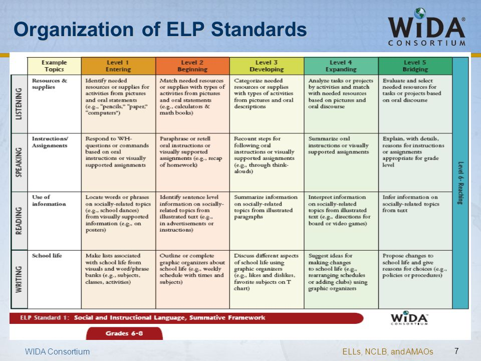 Organization of ELP Standards