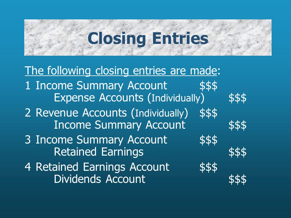 Closing Entries The following closing entries are made:
