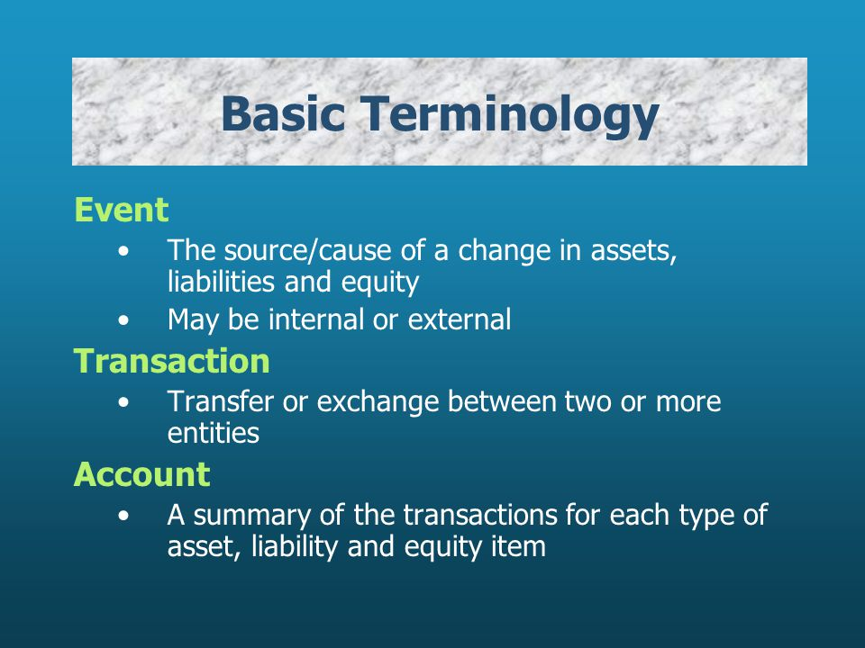 Basic Terminology Event Transaction Account