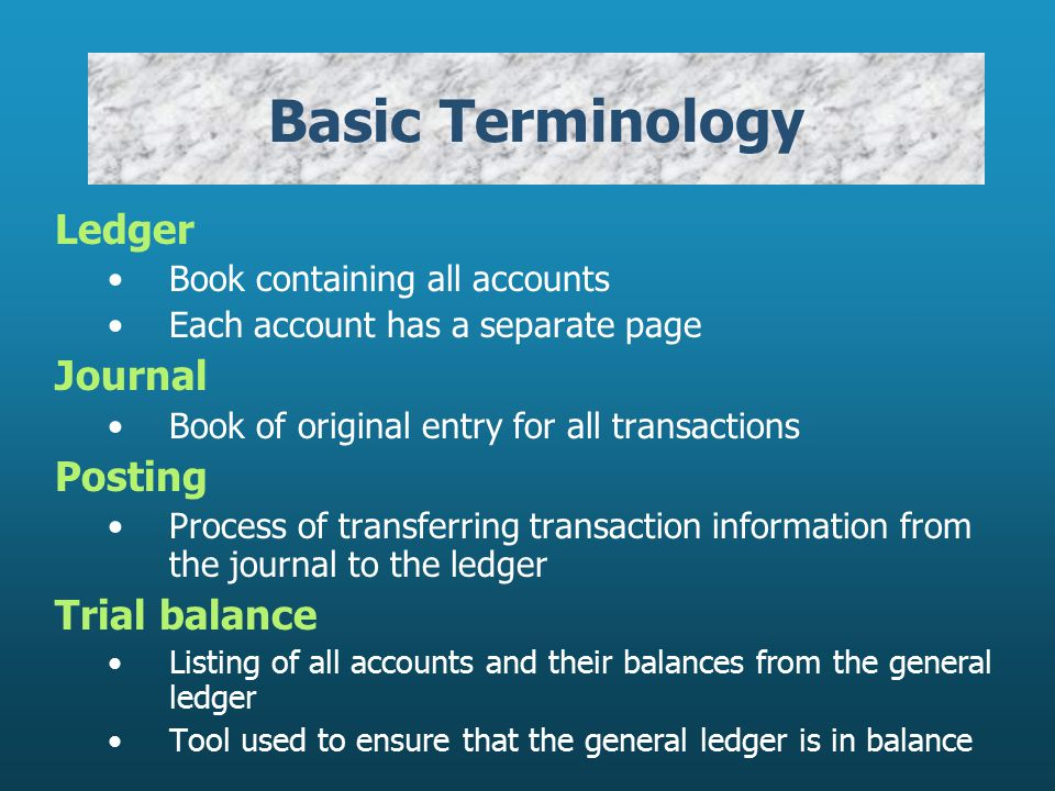 Basic Terminology Ledger Journal Posting Trial balance