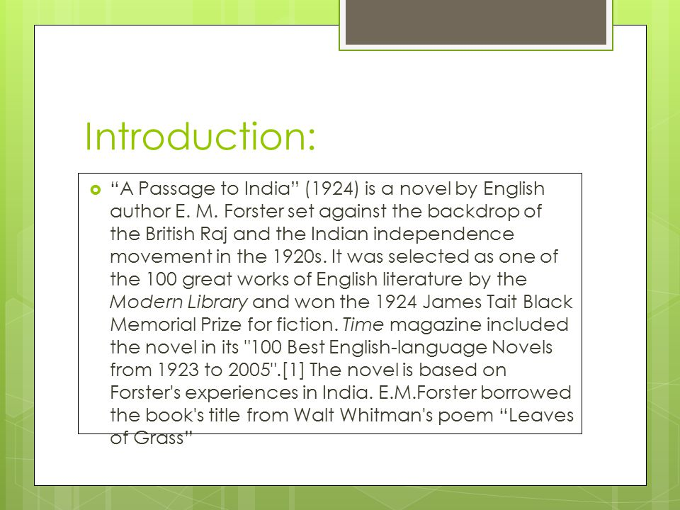 A Passage To India By E M Forster Ppt Video Online Download