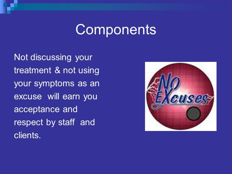Components Not discussing your treatment & not using