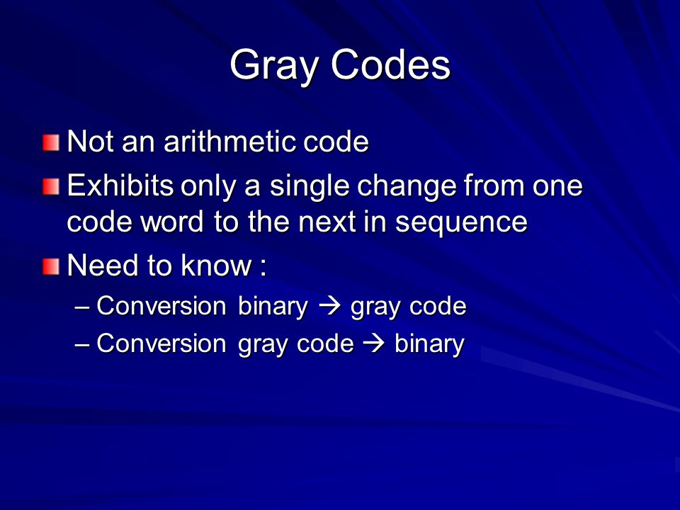 Gray Codes Not an arithmetic code