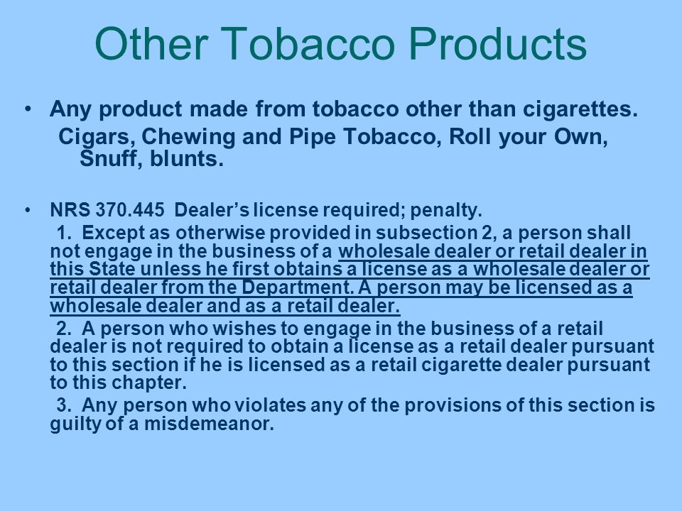 Other Tobacco Products