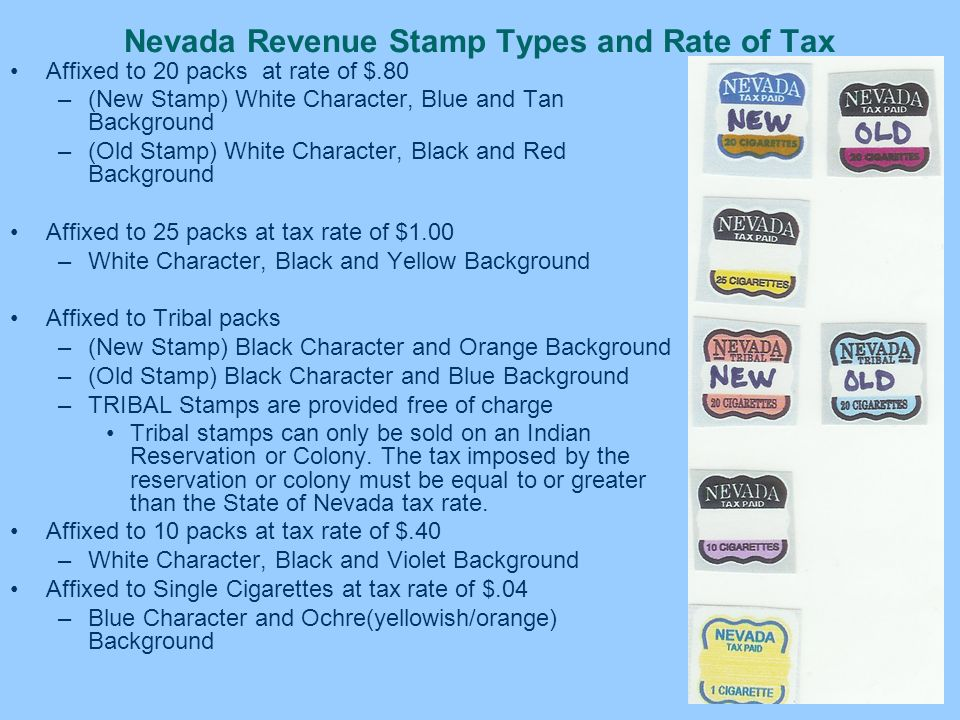 Nevada Revenue Stamp Types and Rate of Tax