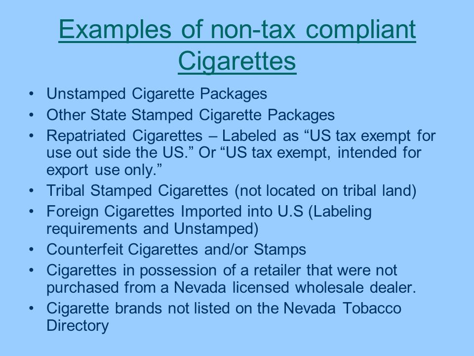 Examples of non-tax compliant Cigarettes