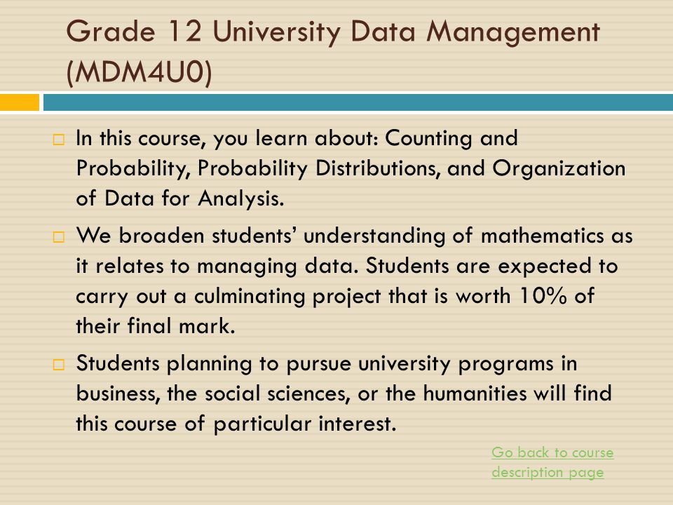 Selecting Math Courses - ppt download
