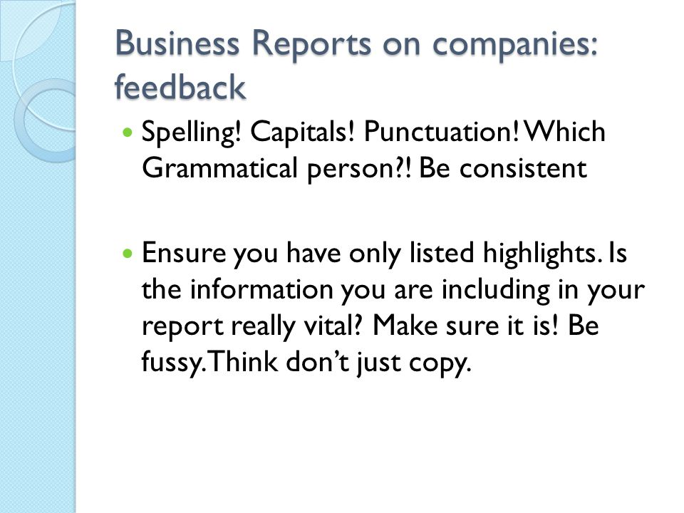 how to start feedback report on a business
