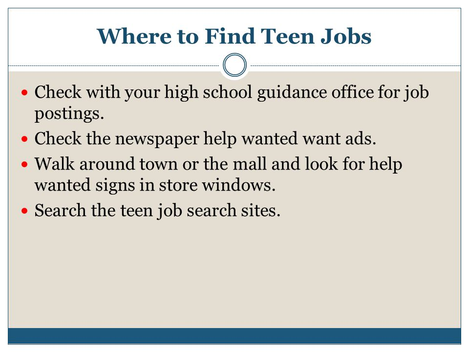 Teen Job Sites