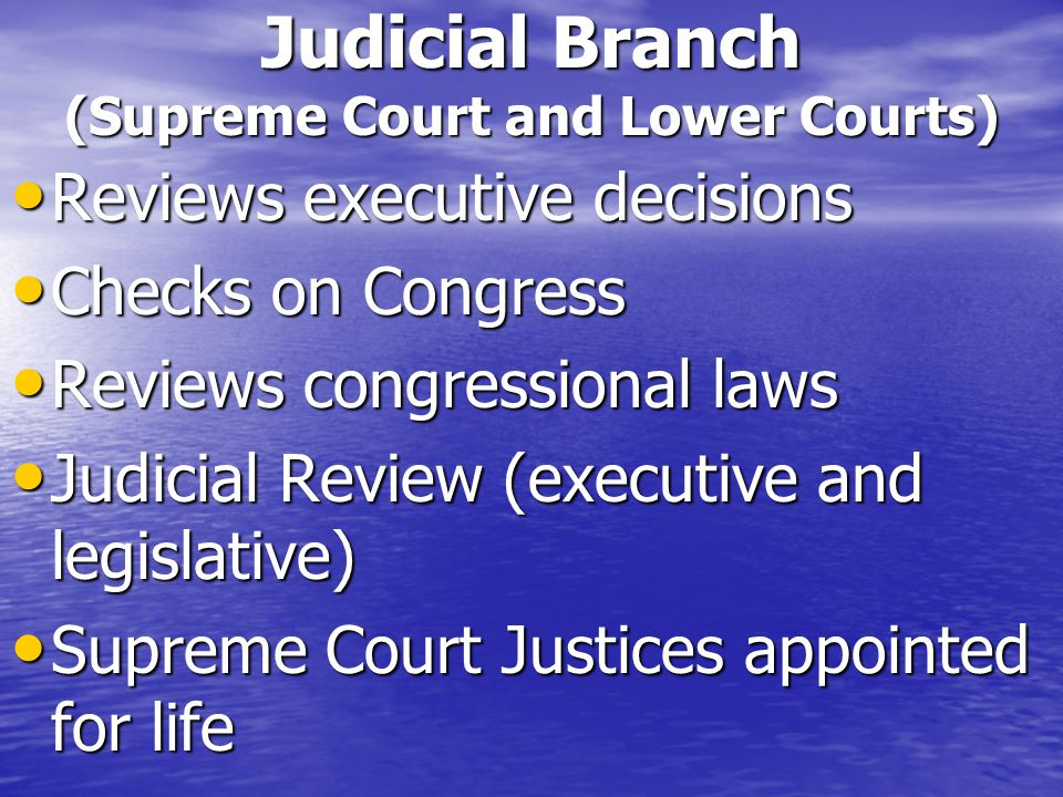 Judicial Branch (Supreme Court and Lower Courts)