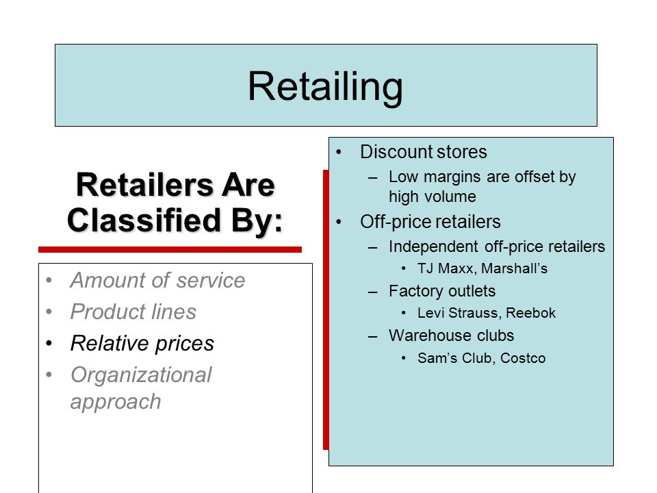 Retailers Are Classified By: