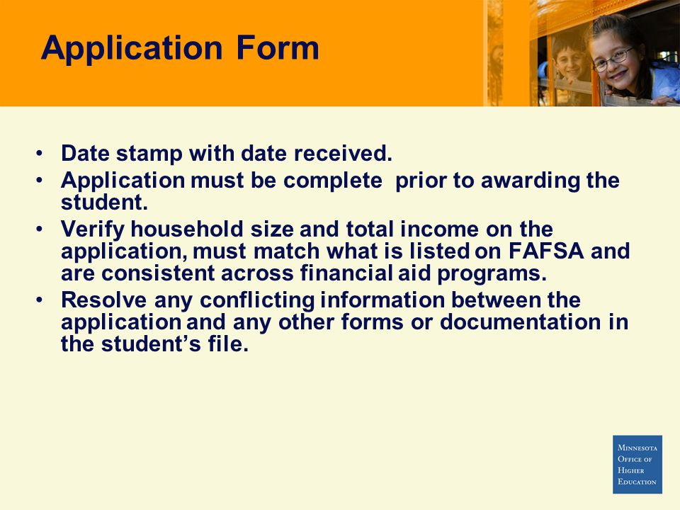 Application Form Date stamp with date received.