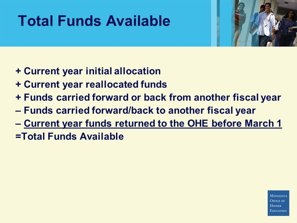 Total Funds Available + Current year initial allocation
