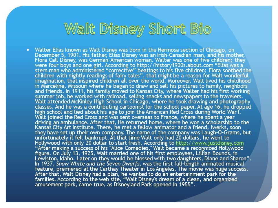 walt disney short biography
