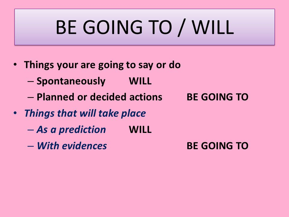 BE GOING TO / WILL Things your are going to say or do