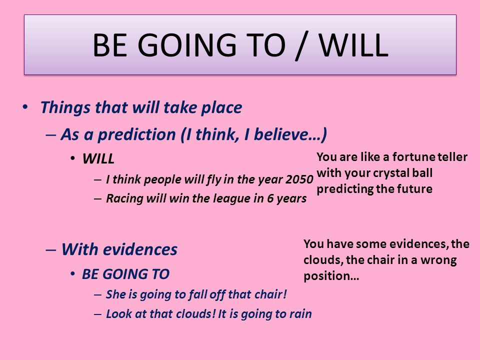 BE GOING TO / WILL Things that will take place