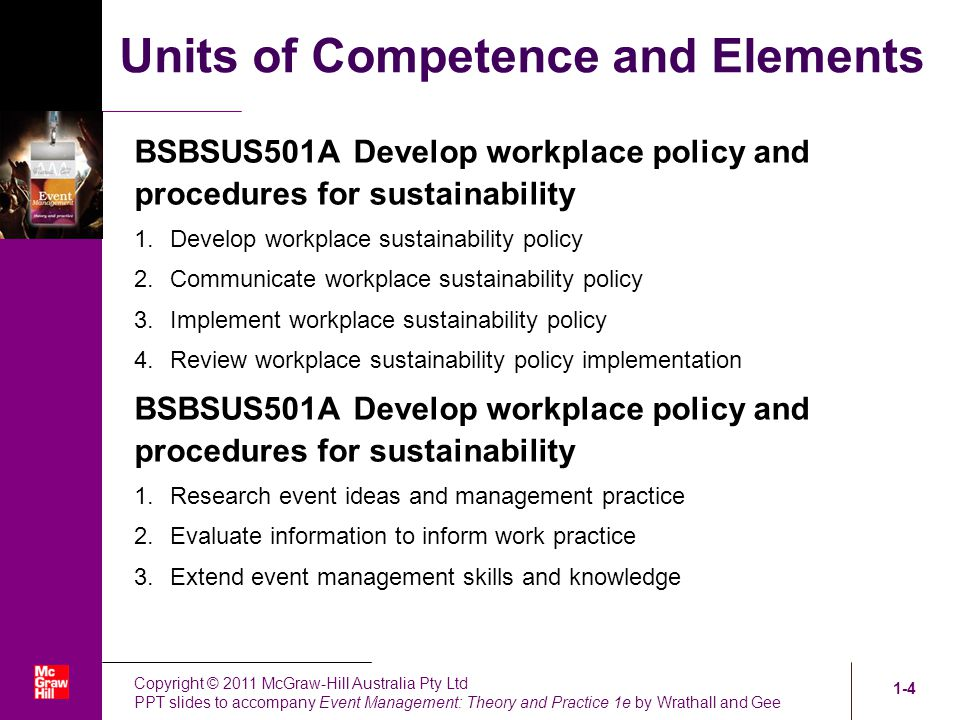 workplace policy and procedures for sustainability