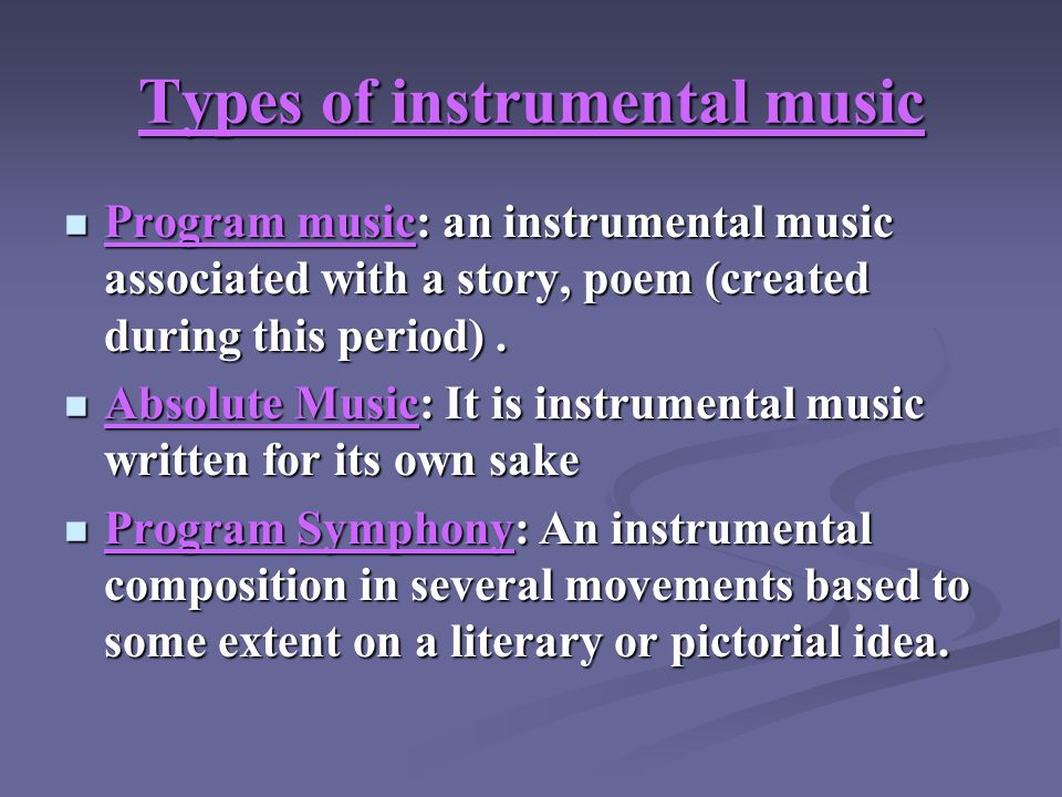 types of instrumental music