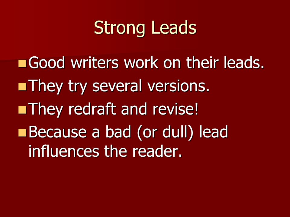 Writing Good Leads For Narratives Ppt Video Online Download