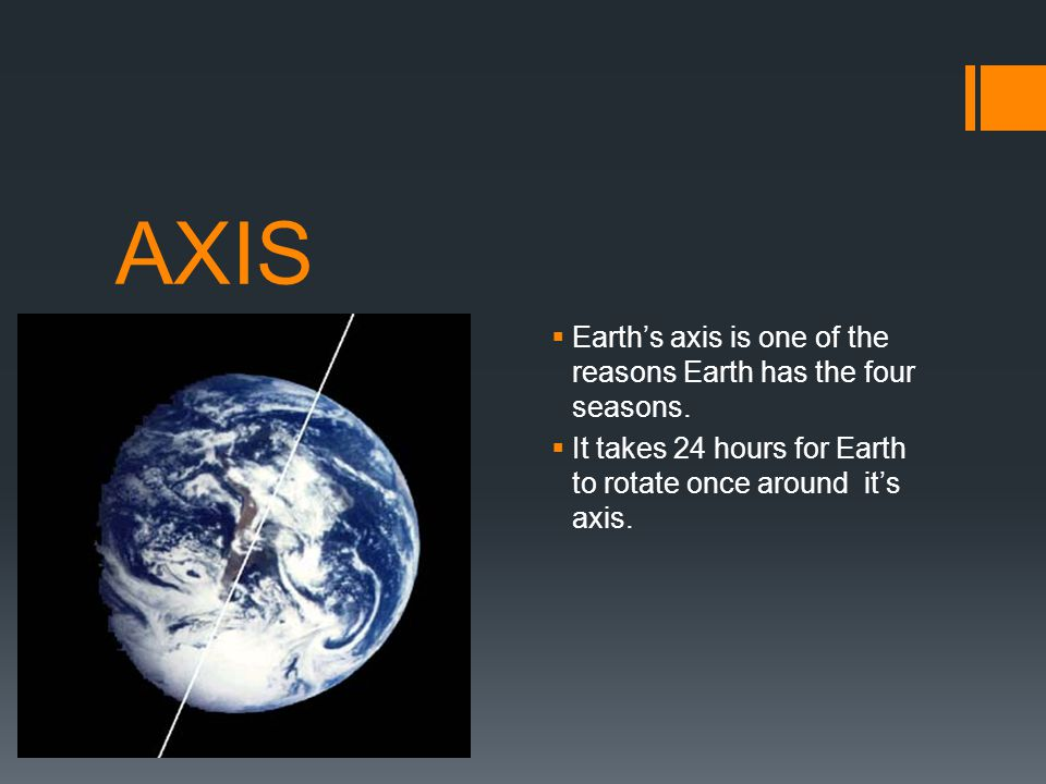 AXIS Earth's axis is one of the reasons Earth has the four seasons.
