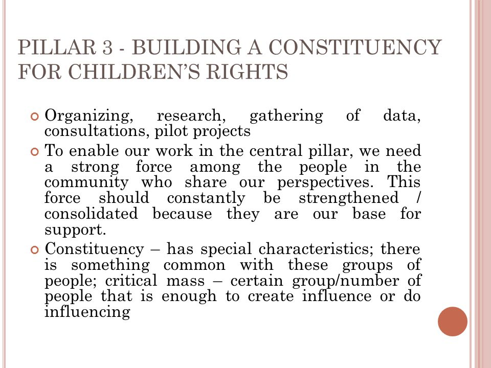 PILLAR 3 - BUILDING A CONSTITUENCY FOR CHILDREN'S RIGHTS