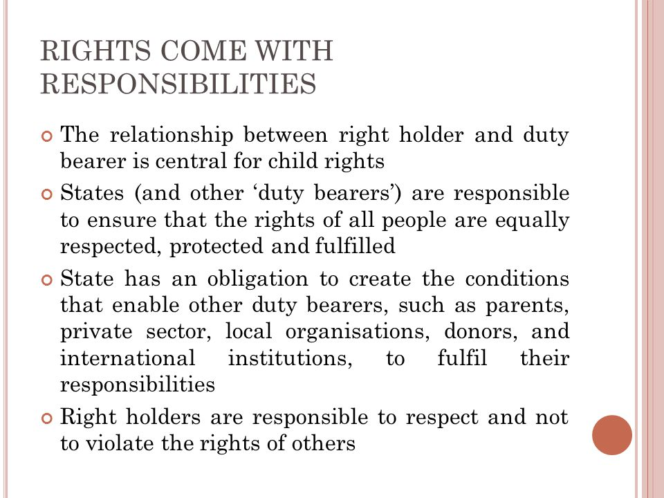 RIGHTS COME WITH RESPONSIBILITIES