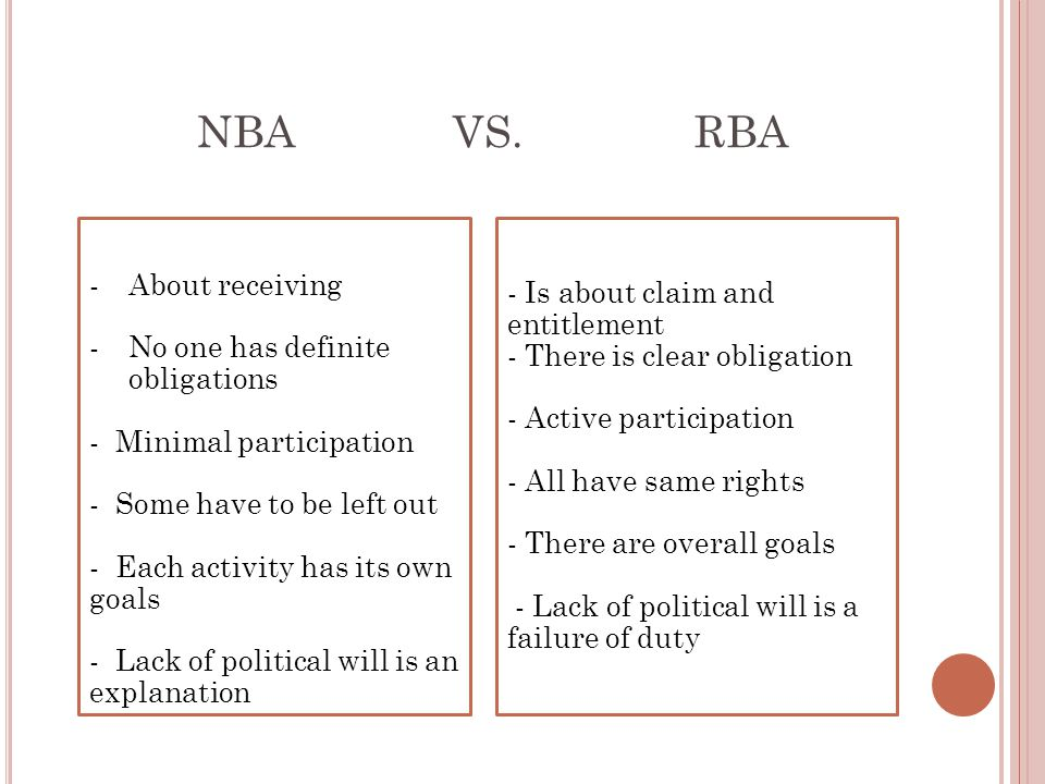 NBA VS. RBA About receiving - Is about claim and entitlement