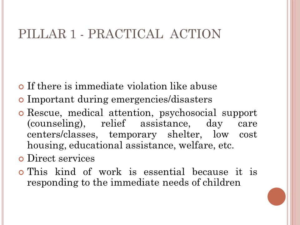 PILLAR 1 - PRACTICAL ACTION