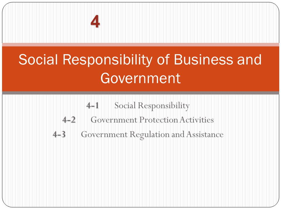Social Responsibility of Business and Government