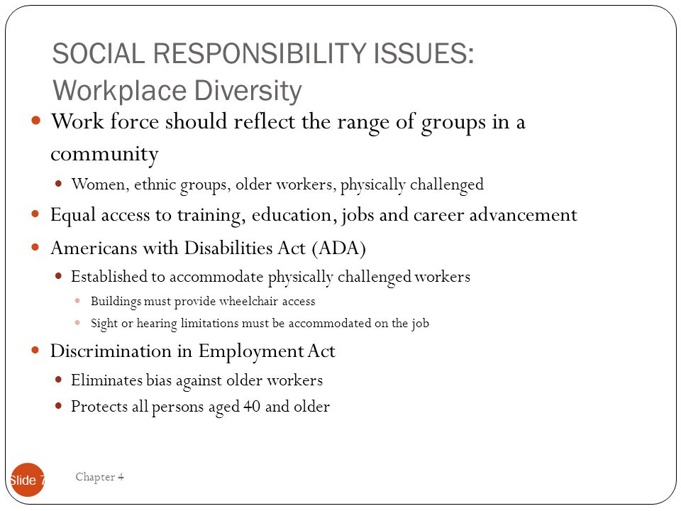 SOCIAL RESPONSIBILITY ISSUES: Workplace Diversity
