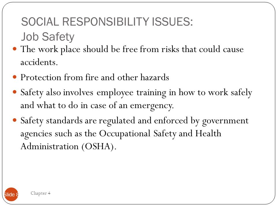 SOCIAL RESPONSIBILITY ISSUES: Job Safety