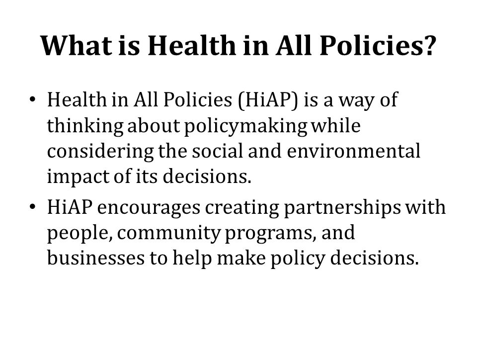 What is Health in All Policies
