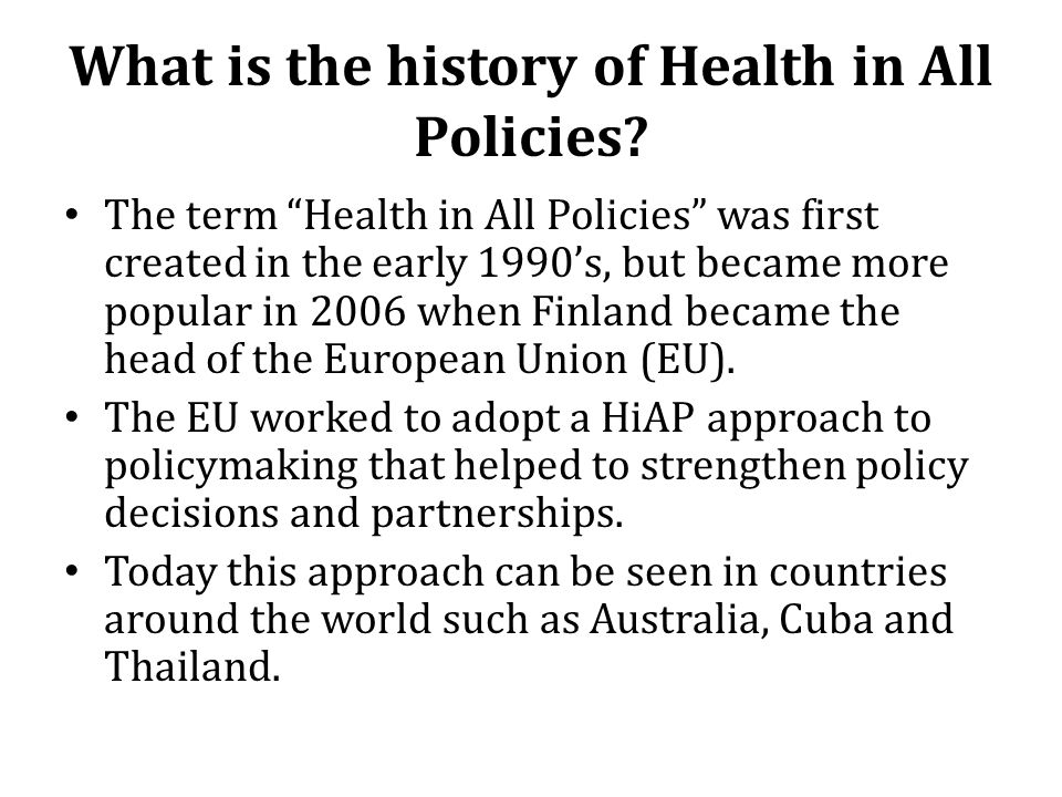 What is the history of Health in All Policies